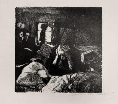 Not, Bl. 1 der Folge Ein Weberaufstand, 1893-1897, Lithographie